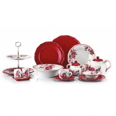 Karaca Tiffany 47 Parça Stonware Set Bordo