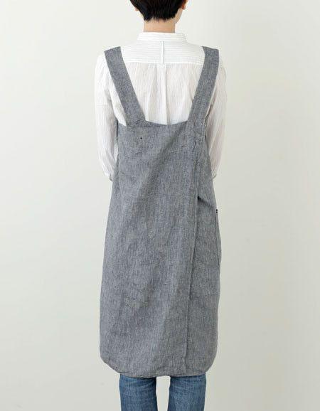 Cross Apron: Linen Denim by Fog Linen. No tie, cross-back.