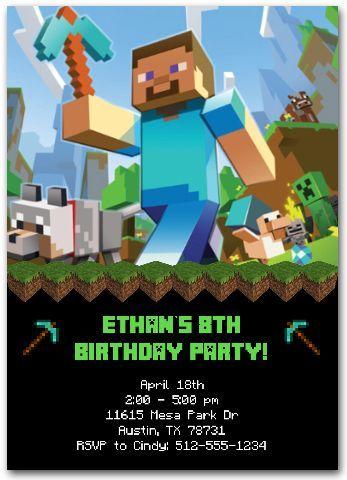 Minecraft Invitation|custom minecraft invitations|printable minecraft|minecraft birthday party|personalized minecraft invitations