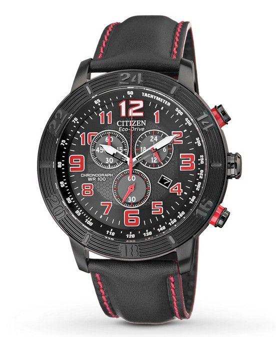 Montre Citizen eco-drive homme AT2225-03E, fonction tachymètre, chronomètre et date, cadran noir et rouge.