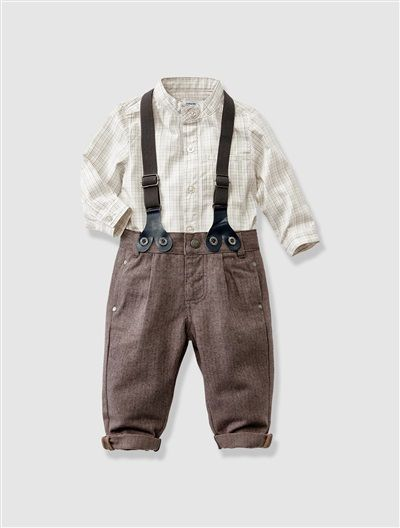 Baby Boy's Shirt & Trousers Outfit White check / taupe