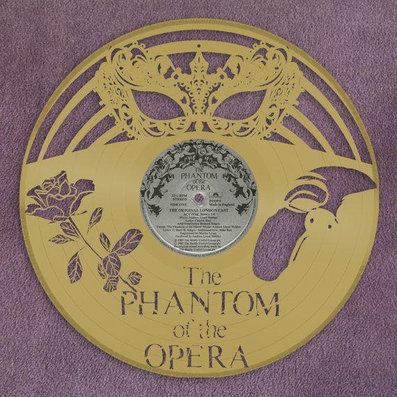 Phantom Of Opera Wall Art Masquerade Mask Venetian Mask Vinyl Record Art Record Wall Art Musical Gift