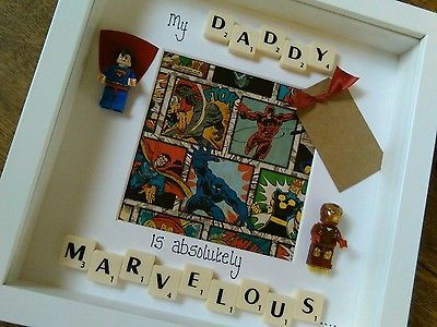 Fathers day/birthday Lego Superhero personalised scrabble art box frame
