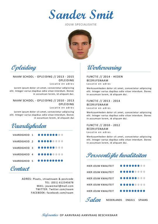 klassiek pro curriculum vitae blauw