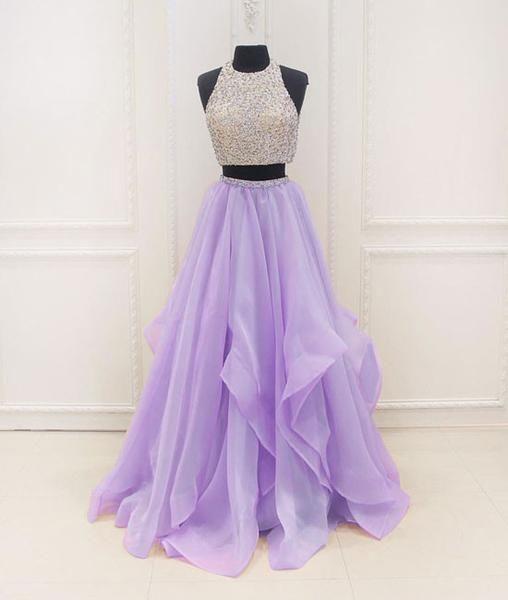 unique two pieces sequin purple long prom dress, purple evening dress