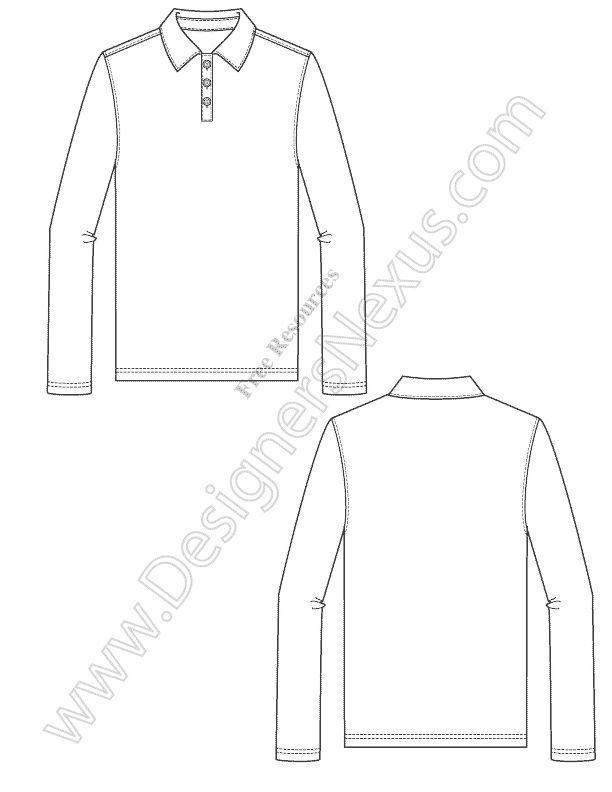 Mens Long Sleeve Polo Fashion Technical Flat Sketch - Free vector flat sketch download in Adobe Illustrator or PNG format at www.designersnexus.com! #menswear #flatsketch #technicalflats #fashionflats #fashionsketch #polo