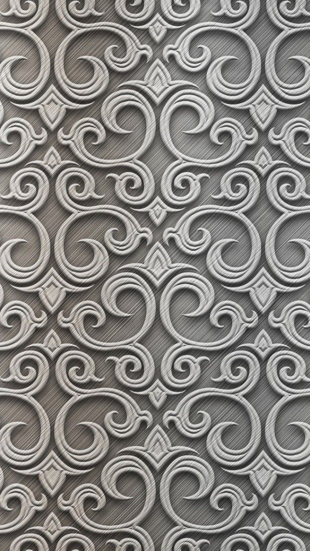 Baroque Silver Pattern iPhone 5 Wallpaper