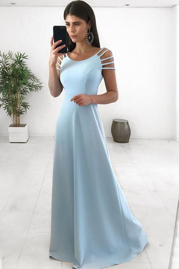 5f4fb99207 Round Neck Blue Long Prom Dresses Cap Sleeves Party Dresses for Women in  2019