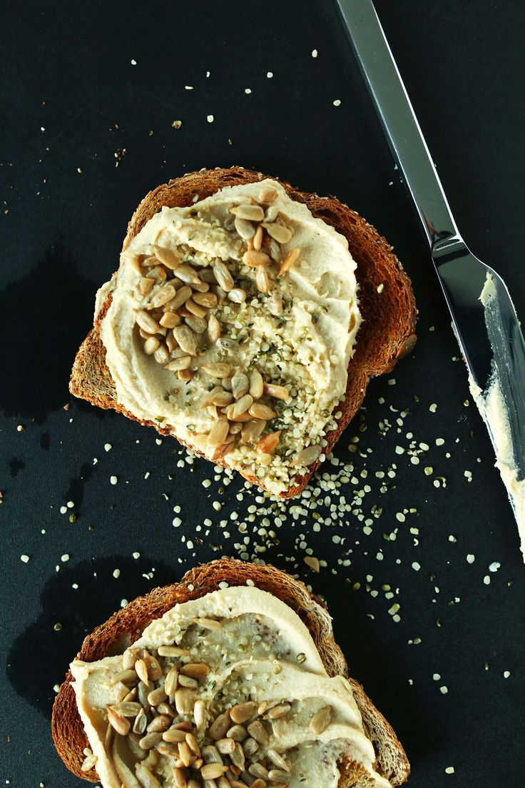 Hummus Toast with Hemp seeds and Sunflower Seeds! #vegan