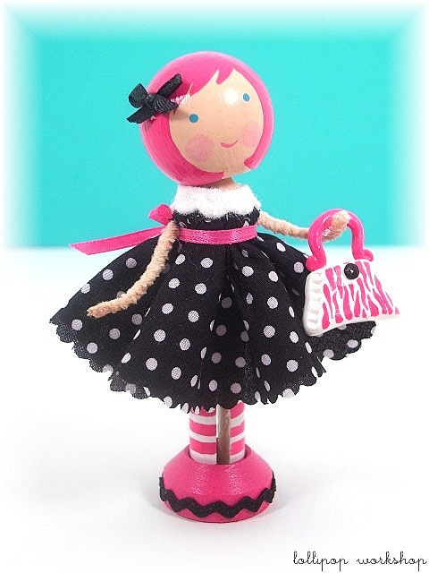 Wood peg doll pink hair