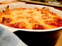 cheesy sausage and meatball pasta bake