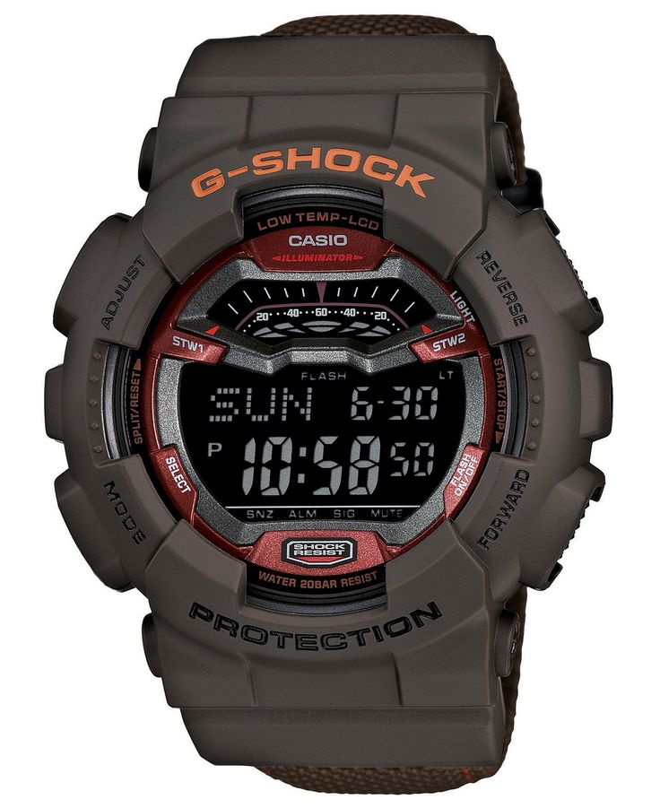 G-Shock Watch, Men's Digital Brown Resin Strap 55x51mm GLS100-5 - G-Shock - Jewelry & Watches - Macy's