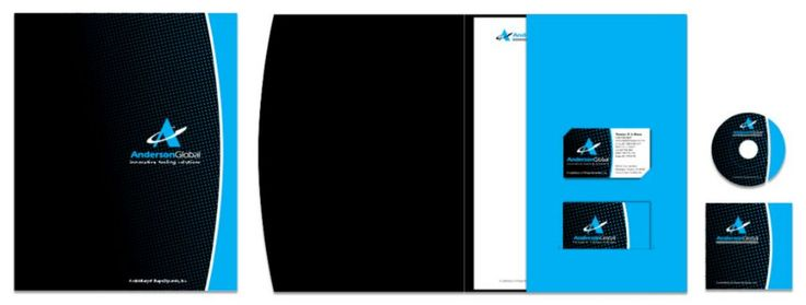 Anderson Global custom die-cut folder, letterhead, business card, and mini CD with CD jacket