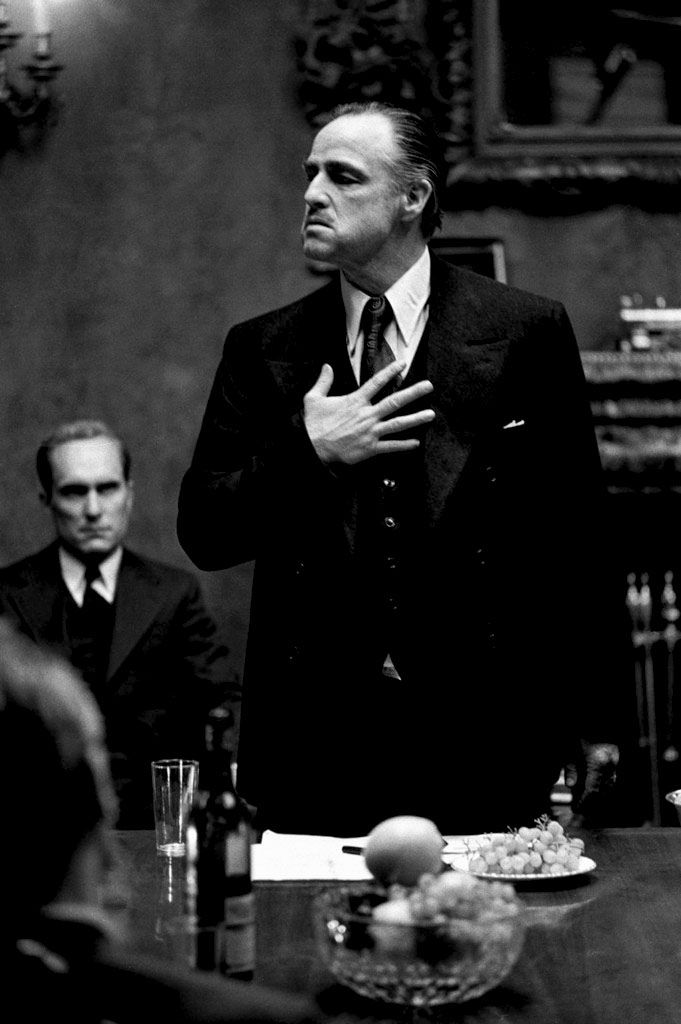 The Godfather (1972), directed by Francis Ford Coppola, starring Marlon Brando. Photo by Steve Schapiro.