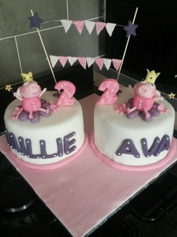 Peppa Pig ,Double celebration, 2nd  birthday cake :)