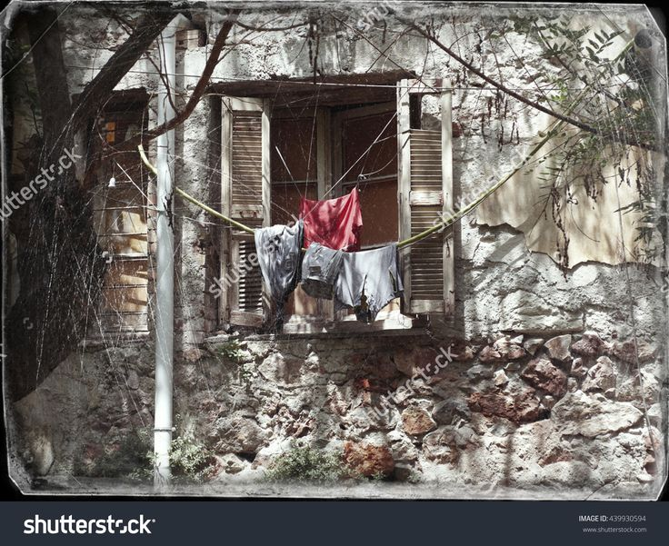 Scene From Old Houses With Bullet Holes That Have Been Destroyed From The Second World War. (Now Is Shelter For Homeless And Immigrants). Photo In Old Image Style. - 439930594 : Shutterstock