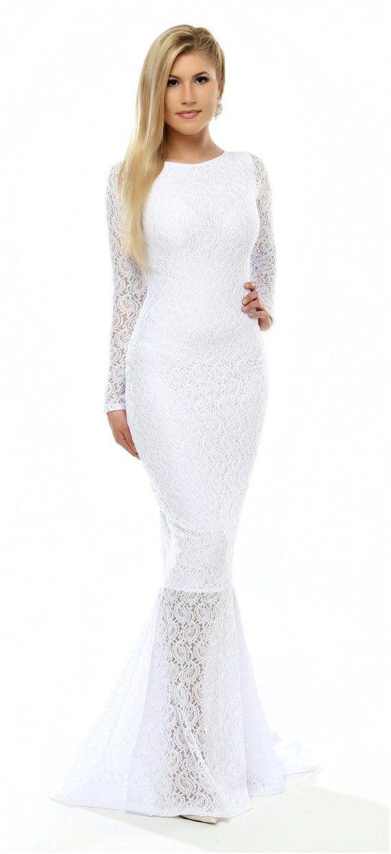 4941038b7a2 Fishtail Bride Dress White Lace Bodycon Dress  Wedding Engagement Maxi Dress  Long Sleeves