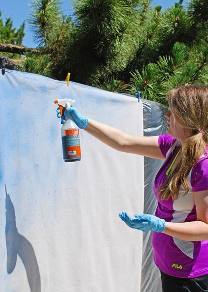 Create a dashing dip-dye effect on a canvas drop cloth the easy way with this DIY project