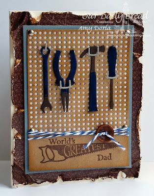 Our Daily Bread Designs Stamp sets: World's Greatest, ODBD Custom Dies: Workshop Tools, Pegboard and Hooks,  ODBD Vintage Ephemera Paper Collection
