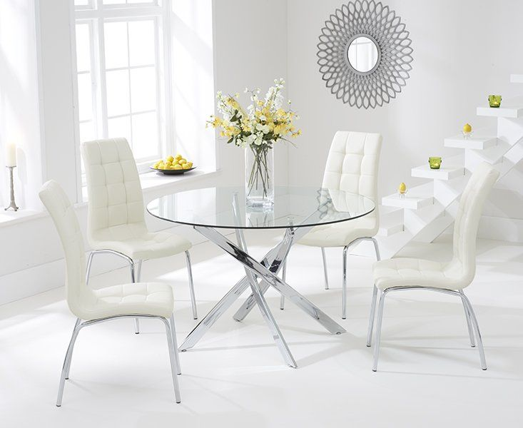 Crovetti Dining Set With 4 Chairs Circle Dining Table Glass