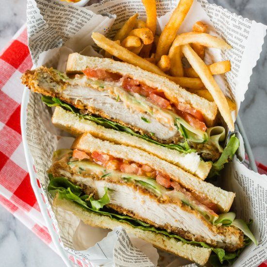 Delicious baked crispy chicken sandwich with garlic mayo sauce, in Japan we call this Chicken Katsu Sando.