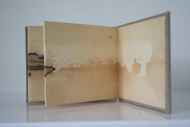 Tide Marks Book #22 by Alice Fox. Paper, tea, rust print, hand stitch in cotton.