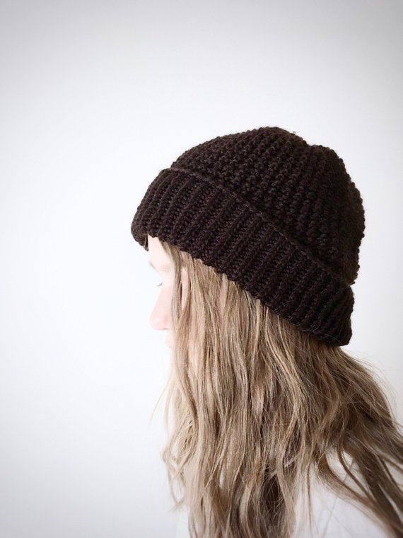 e915721bb33 Knitted hats for fall and winter on etsy.com. Dark brown wool and silk  beanie for women from Elaine s Collection.  elainescollection  etsy   knittedhats ...
