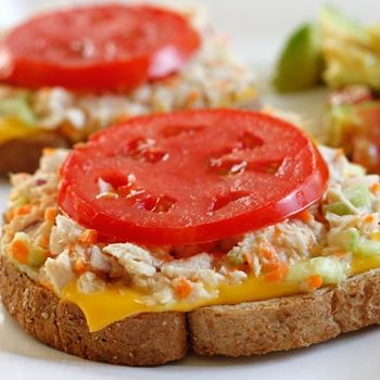 Skinny tuna melt- 1 can tuna, 1/2 c celery, 1/4 c shredded carrots, 1T red onion, 1T mayo, 1 tsp red wine vinegar, salt & pepper.  Heat skillet on low heat and spray with butter spray.  Place 2 slices of bread in skillet and add american cheese on top. Spread tuna mixture and top with tomatoe slices.  Cook until cheese melts and bread is toasted.