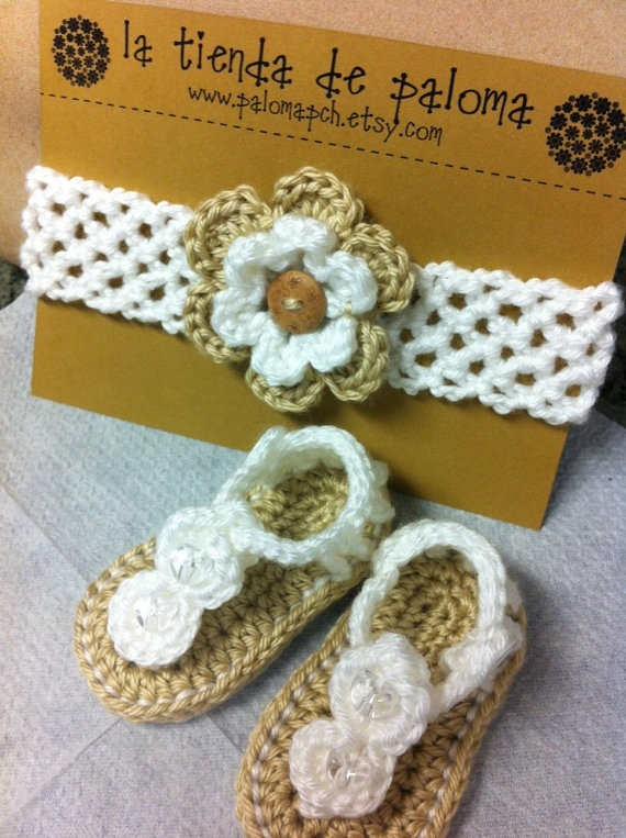 Crochet baby sandals and headband set  Baby booties  by palomapch, $25.00