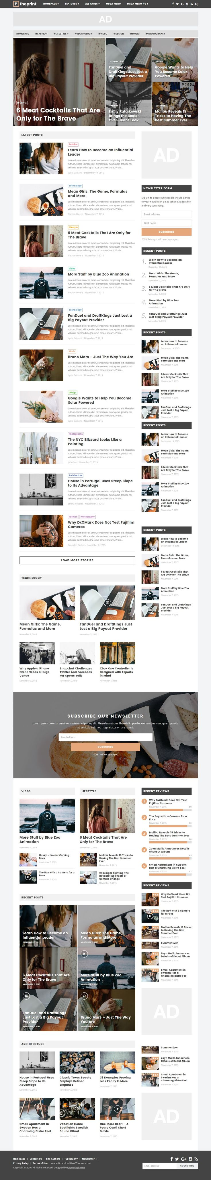 The Print is a simple, clean WordPress theme, and designed for online #magazine, #newspaper #websites, but it can also be used for simple personal #blogs. The Print was designed with a modern and minimal style, gorgeous typography for better reading experience, it is a perfect match for any content.