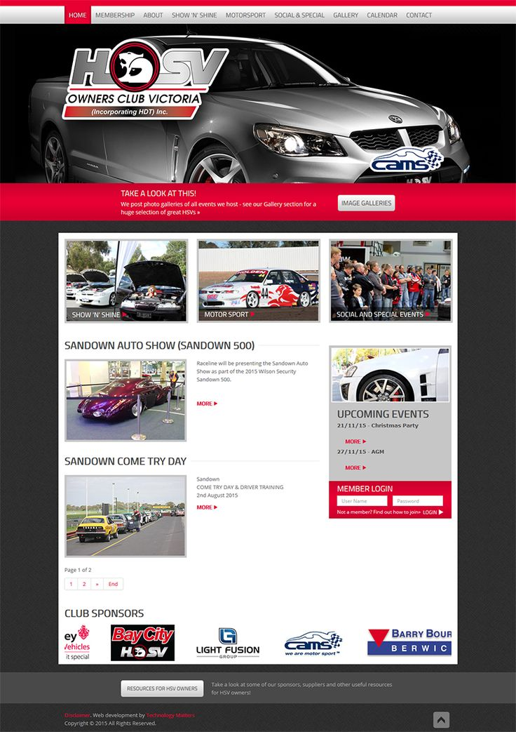 OUR PORTFOLIO HSV Holden Owners Club -Technology Matters, web developers and designers in Melbourne.