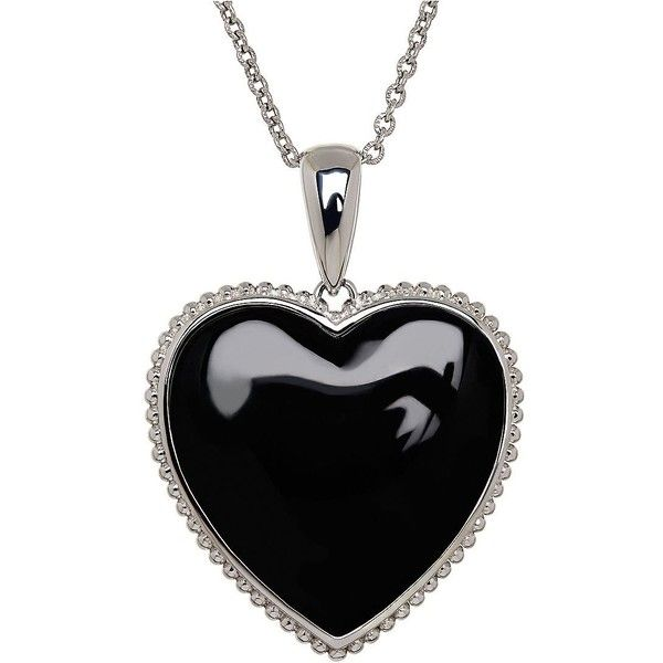 Lord & Taylor Onyx and Sterling  Heart Pendant Necklace ($125) ❤ liked on Polyvore featuring jewelry, necklaces, silver, pendants & necklaces, onyx pendant, black onyx pendant necklace, heart jewelry and heart shaped necklace