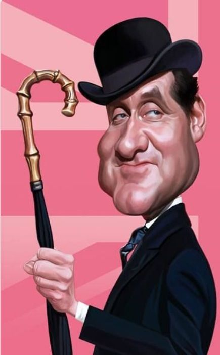 A caricature of Patrick MacNee - The Avengers, in his most famous role: Mr. Steed. Jean-Marc Borot, caricaturist