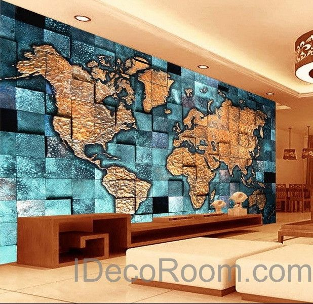 3D Blue Ocean Abstract World Map Wallpaper Wall Decals Wall Art Print Mural Home Decor Indoor Office Business Deco
