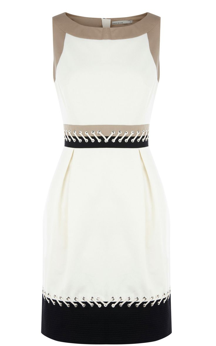 Karen Millen Colourblock Dress With Lacing Cream & Multi - suit-dresses.com - $80.71