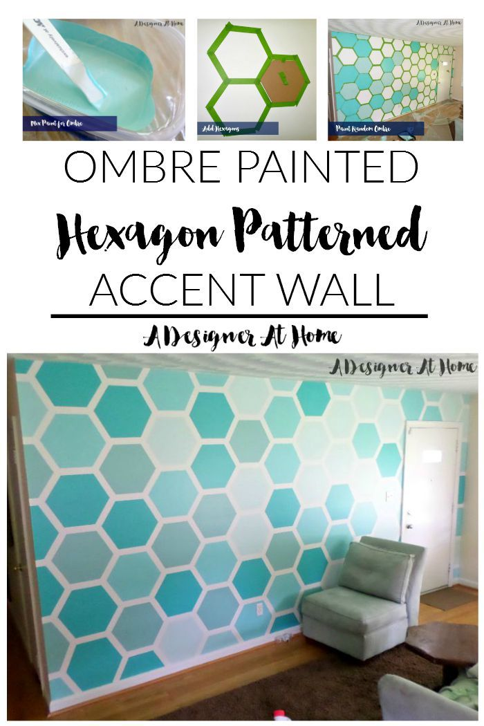 ombre painted hexagon patterned accent wall - A Designer At Home