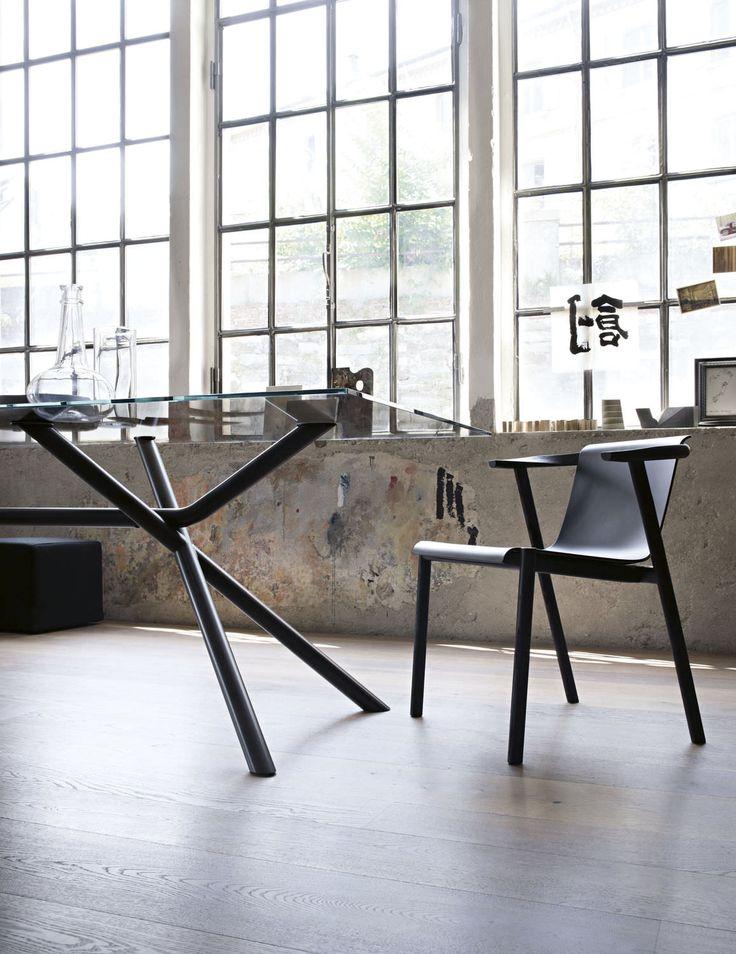 Silla moderna / con brazos / en madera curvada / de fresno BAILU by Neri & Hu  LEMA Home