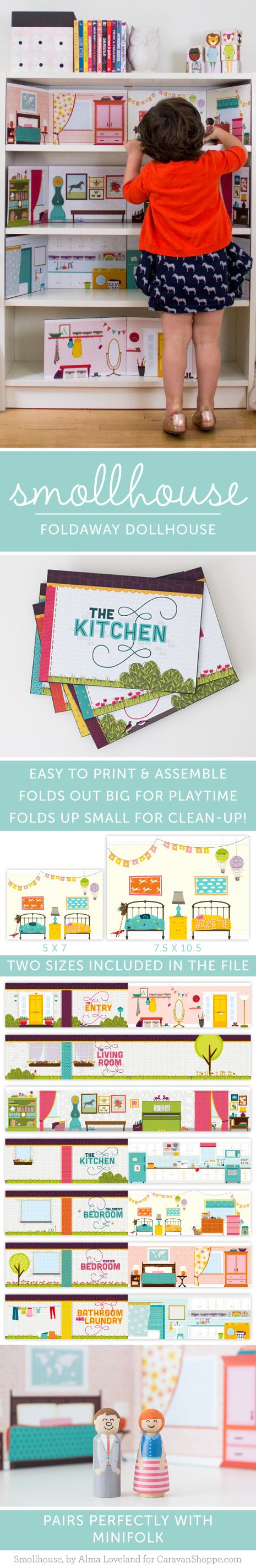 Printable and easy-to-assemble dollhouse. $12 for 6 very detailed rooms!
