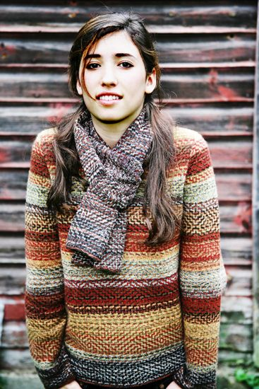 Karen Allen, autumn-rhapsody pullover sweater   amazing stitches and weaving of colours