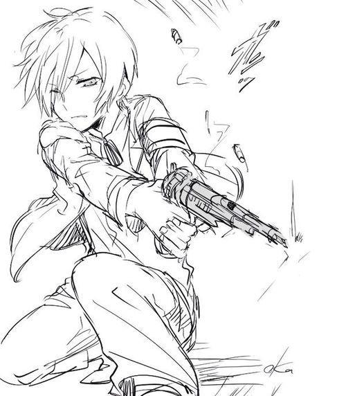 Lineart Anime Boy : Anime boy with gun google search drawn art
