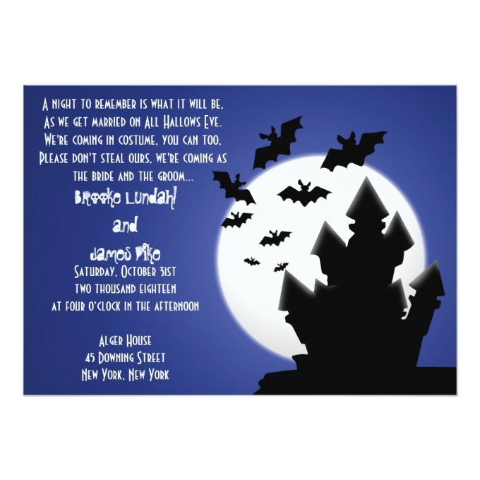 2174 best halloween wedding invitations images on pinterest halloween haunted house bats wedding invitation stopboris Images