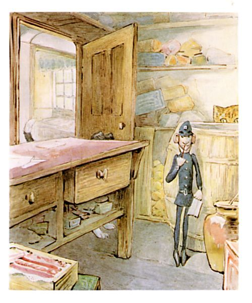 "'The Tale of Ginger and Pickles', 1909 -- Beatrix Potter. ""The policeman went on writing in his notebook... Pickles barked till he was hoarse. But still the policeman took no notice."""