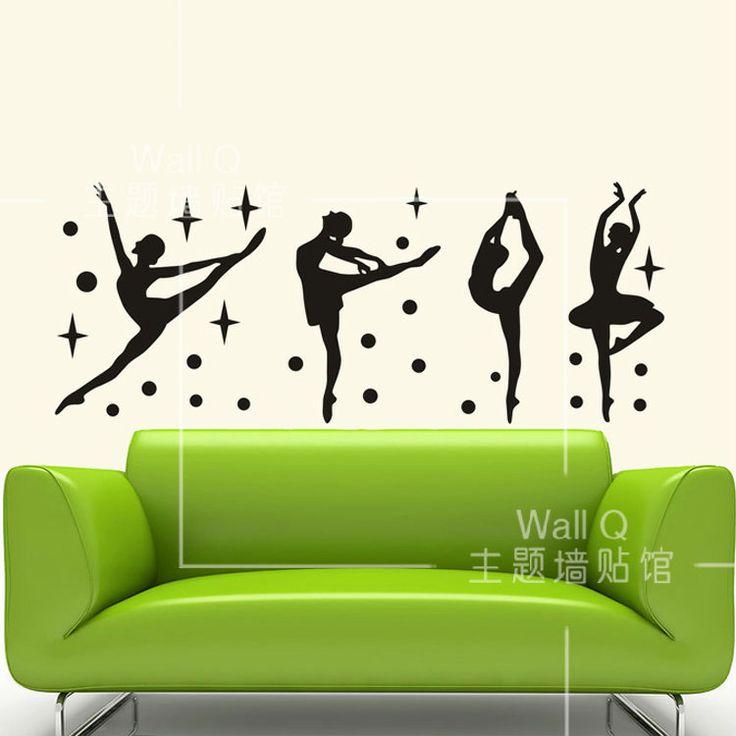 Doe het ballet meisje dansen handelt decoratie muur thuis bank sportschool kunst aan de muur stickers 56*37 cm gratis verzending