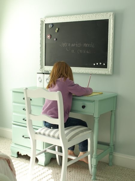 magnetic chalk paint framed: cute desk and chair