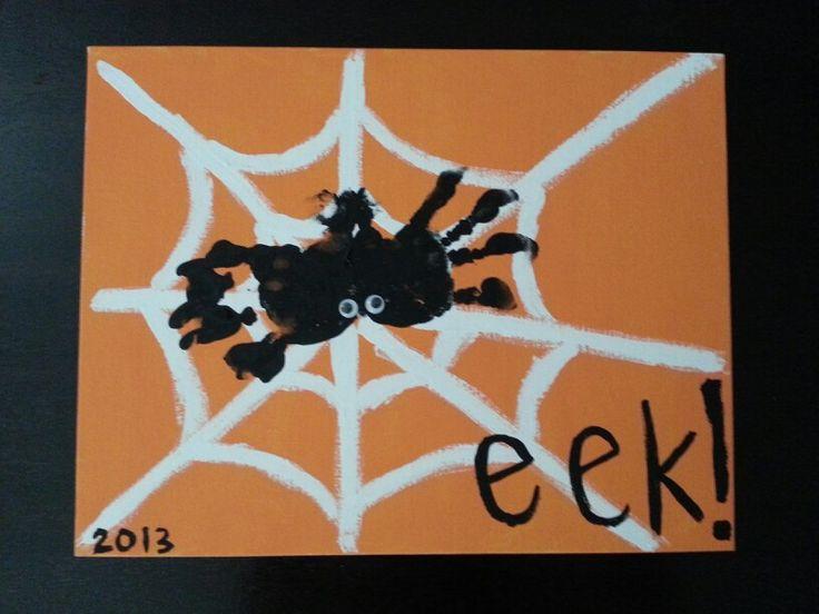 Toddler Halloween Craft - Evan's handprint spider   Easy and cute!