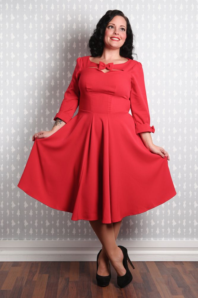 Teresa-Rose - Stylish swing dress with bows