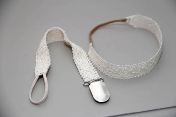Lace headband and soother chain set by BabyFripperies on Etsy