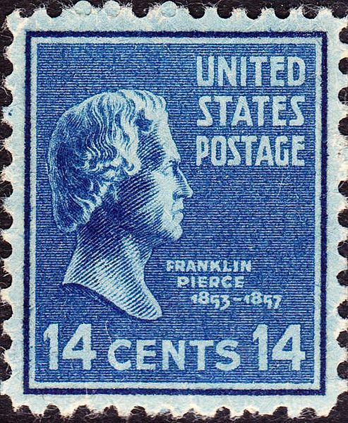 Franklin Pierce 1938 Issue-14c. - On June 2, 1890 the US Post Office issued a brown 5-cent Postage stamp honoring Ulysses S. Grant. It was the first US Postage stamp to depict the former President and Civil War General. This issue was released exactly twenty-five years after Gen. Edmond Kirby Smith's surrender of the last major Confederate army at Galveston, Texas, on June 2, 1865. The issue was printed by the American Bank Note Company.[43]
