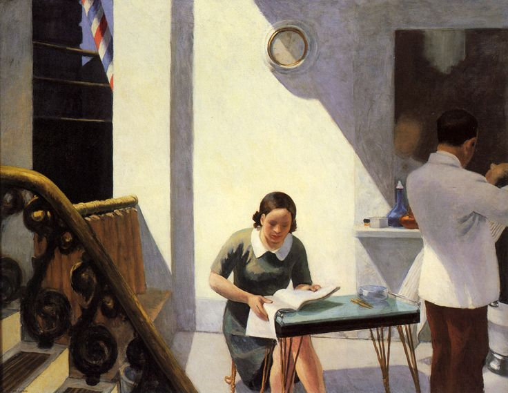 The Barber Shop - Edward Hopper / Artist: Edward Hopper / Completion Date: 1931 / Style: Social Realism / Genre: genre painting / Technique: oil / Material: canvas / Dimensions: 198.12 x 152.4 cm / Gallery: Private Collection
