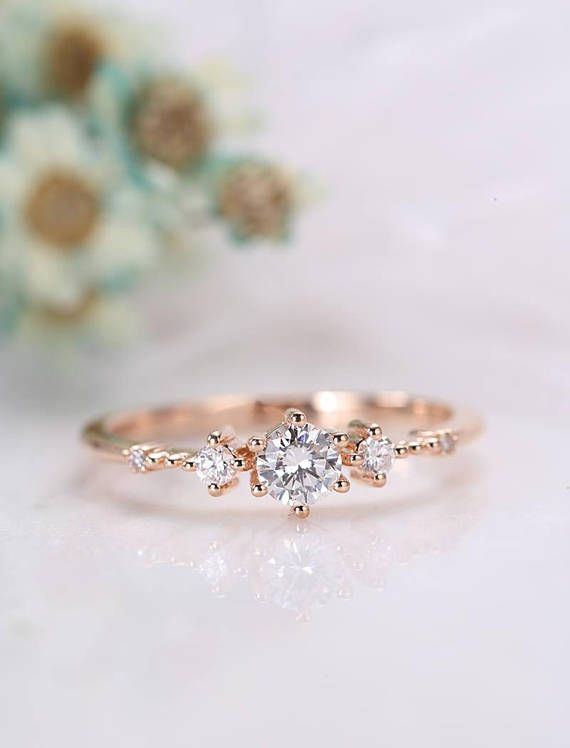 Unique diamond engagement ring rose gold Vintage d…